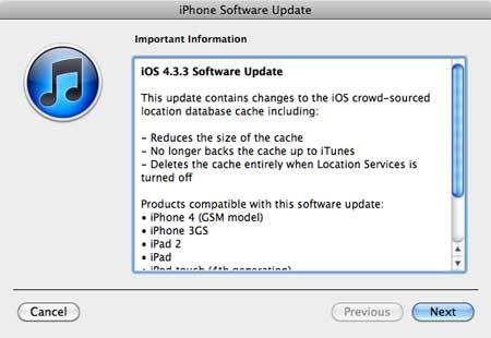 ظهور التحديث الجديد iOS 4.3.3