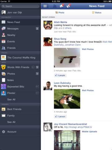 وأخيرا ظهور تطبيق فيسبوك خاص بجهاز الايباد