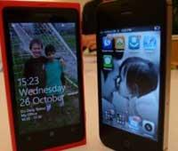 اختبار المقارنة بين الايفون 4 أس ونوكيا الجديد