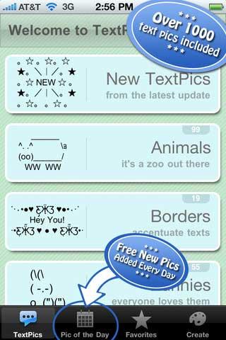 برنـــامج TextPics لـ اضافة اشكال ورمـوز لـ رسائـل جهاز الايفون