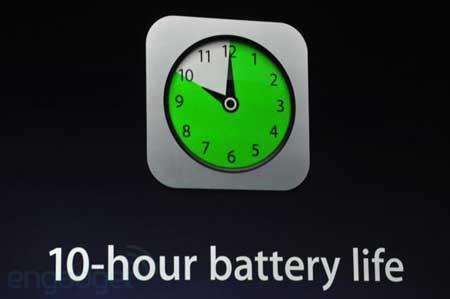 10 ساعات عمل متواصلة عمر بطارية الايباد الجديد