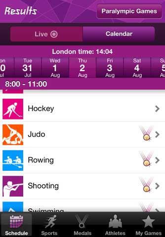 تطبيق النتائج الرسمية لدورة لندن الاولمبية