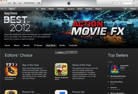 الكشف عن اشهر التطبيقات لعام 2012 في متجر ابل
