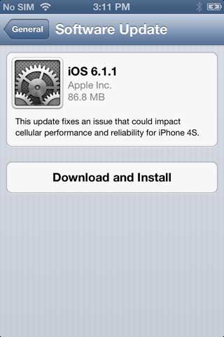 ابل تطلق تحديثا iOS 6.1.1 خصيصا لجهاز الايفون 4 أس