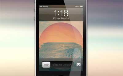 تصور المصمم Sentry لشاشة الاقفال في الايفون