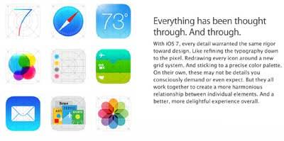 خطأ مقصود؟ iOS 7 ايقونات مختلفة في في موقع ابل وبالاجهزة!