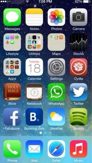 """هكذا يبدو الايفون 5 العامل بجيلبريك من iOS 7 نسخة """"بيتا 2"""""""