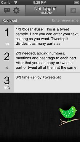تطبيق Tweetsplit لكتابة تغريدات طويلة