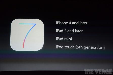 الأجهزة المتوفقة مع iOS 7
