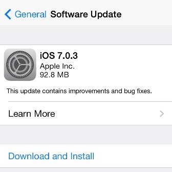 آبل تطلق تحديث iOS 7.0.3 !