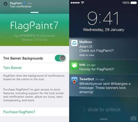 السيديا: أداة FlagPaint7 التي تدخل الكثير من الالوان لاجهزة الايفون