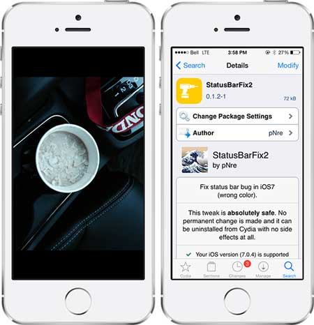 السيديا: اداة StatusBarFix2 لحل مشاكل في استخدام الجهاز بعد الجيلبريك