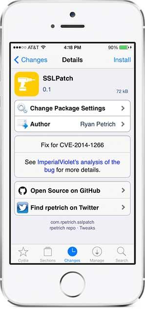 أداة SSLPatch لإغلاق ثغرة خطيرة في الأيفون