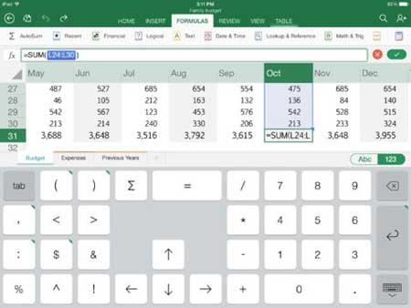 تطبيق Excel للآيباد