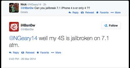تأكيد نجاح جيلبريك الأيفون 4s إصدار 7.1