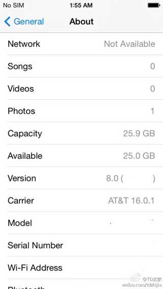 صورة من اعدادات IOS 8