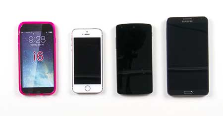 الأيفون 6، جالاكسي S5 ونوت 3 ونيكسوس 5