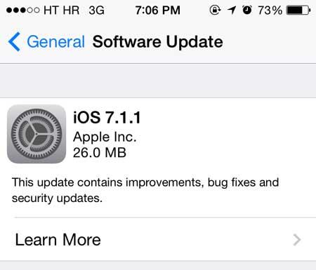 التحديث الجديد iOS 7.1.1