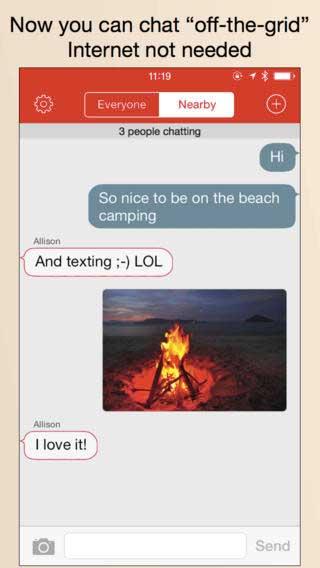 تطبيق FireChat للدردشة دون شبكة