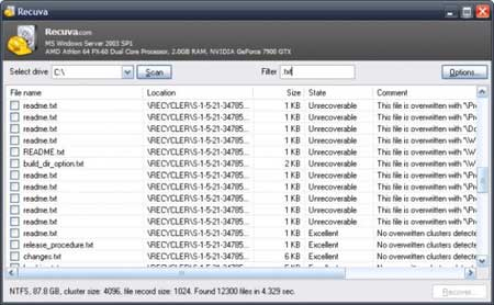 برنامج Recuva لاسترجاع الملفات المحذوفة