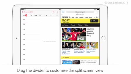 ميزة split-screen multitasking في iOS 8