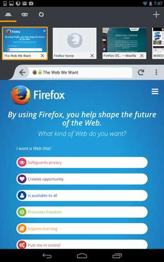 تحديث متصفح فايرفوكس للأندرويد