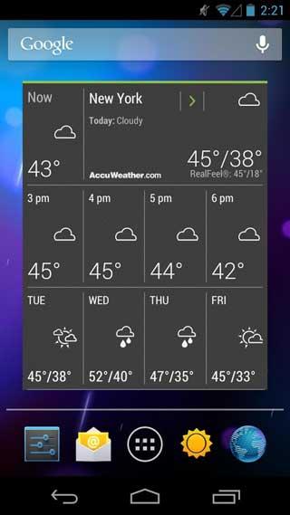 تطبيق الطقس AccuWeather للأندرويد