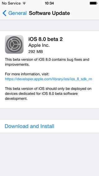 النسخة الثانية من الإصدار التجريبي iOS 8