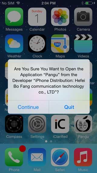 اضغط على أيقونة Pangu التي ستجدها في جهازك