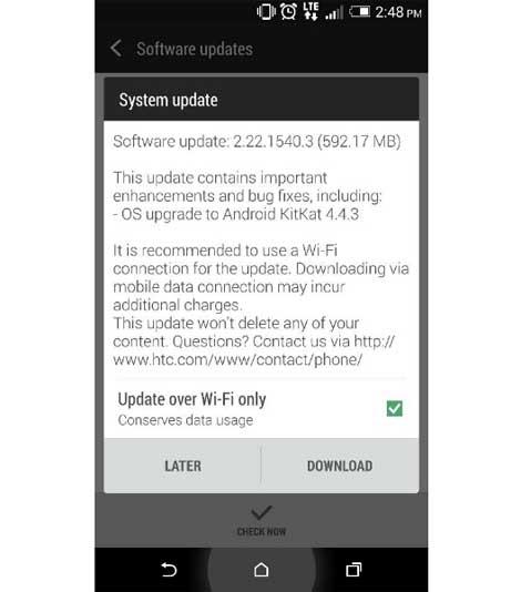 جهاز HTC ONE M8 يحصل على كيت كات 4.4.3