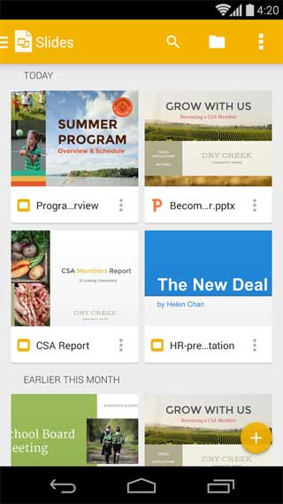 تطبيق Google Slides لعرض وإنشاء وتحرير ملفات Powerpoint للأندرويد