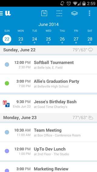 تطبيق UpTo - Calendar and Widget تقويم مميزة للأندرويد