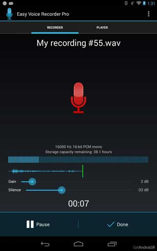 نطبيق Easy Voice Recorder مسجل صوت احترافي