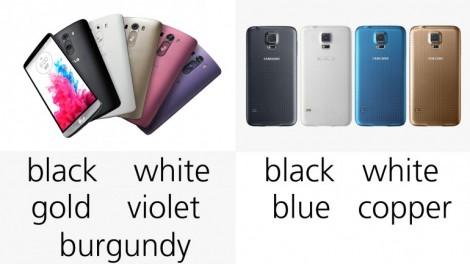 هاتف LG G3 ضد Galaxy S5 : الألوان
