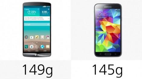 هاتف LG G3 ضد Galaxy S5 : الوزن