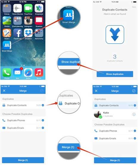 شرح التخلص من جهات الاتصال المكررة عن طريق تطبيق Smart Merge