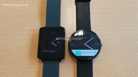 صورة ساعة Moto 360 مقارنة بساعة LG G Watch