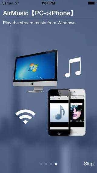 تطبيق AirMusic Player المقاطع الصوتية على الحاسوب