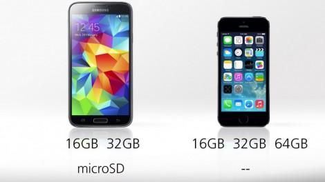 [ مقارنة شاملة ] : هاتف iPhone 5s ضد Galaxy S5 : سعة التخزين