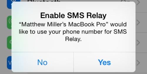 النسخة التجريبية الخامسة iOS 8 Beta 5 : ميزة SMS Relay