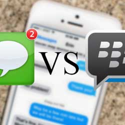 صورة بلاكبيري لآبل : تطبيق BBM أفضل من تطبيق iMessage !