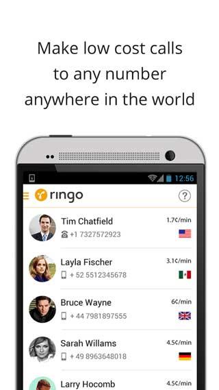 تطبيق Ringo لاجراء اتصالات دولية