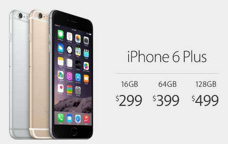 أسعار هاتف iPhone 6 Plus داخل الولايات المتحدة :