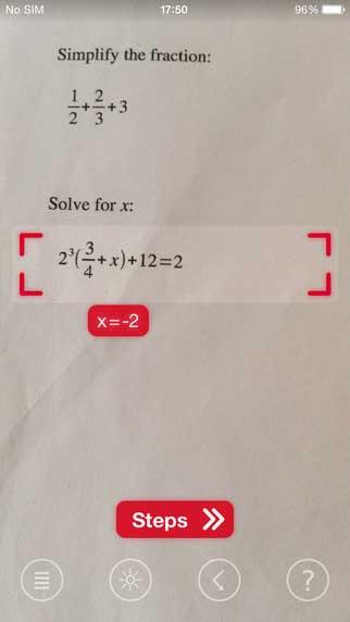 تطبيق PhotoMath لحساب المعادلات الرياضية عن طريق الكاميرا