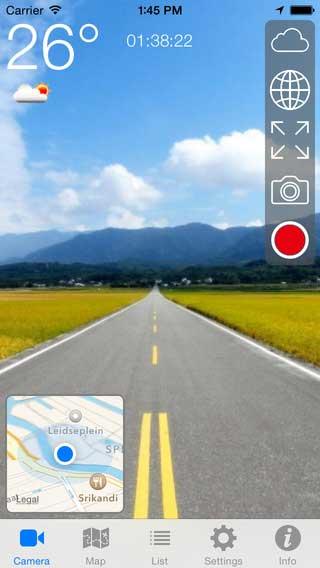تطبيق Driving Rec لتسجيل فيديو وأنت تقود مع الخريطة