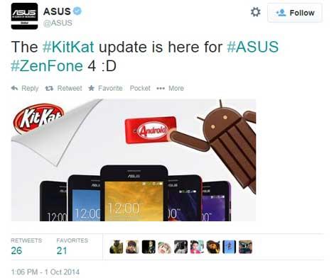 جهاز Asus ZenFone 4 يحصل على أندرويد كيت كات