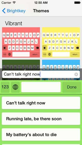 تطبيق Brightkey لوحة مفاتيح ملونة للأيفون - مجانا