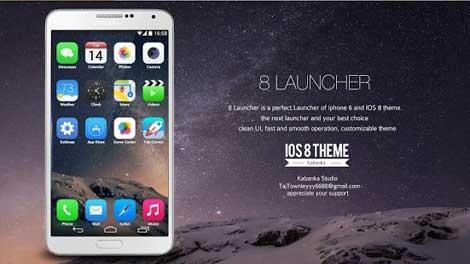 تطبيق 8 Launcher للحصول على لانتشر بتصميم iOS 8