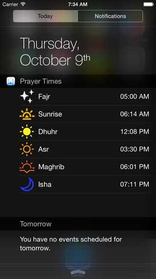 تطبيق Prayer Times Widget لعرض مواقيت الصلاة