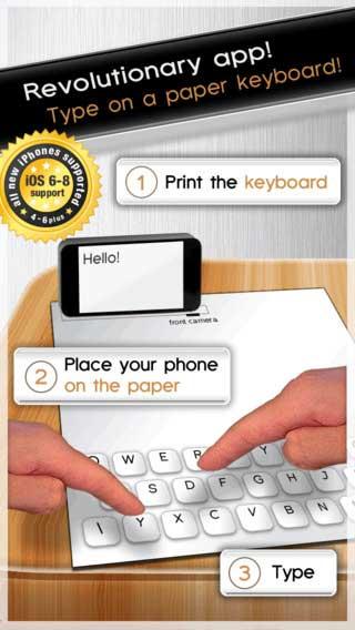 تطبيق Paper Keyboard لوحة مفاتيح من الورق